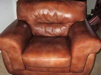 REDUCED PRICE Brown Leather Suite - 1 x 3 Seater Sofa, 1 x 2 Seater Sofa, 1 x Chair