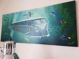 VW campervan canvas picture x2