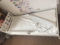Ikea kritter toddler bed with mattress and m. Protector