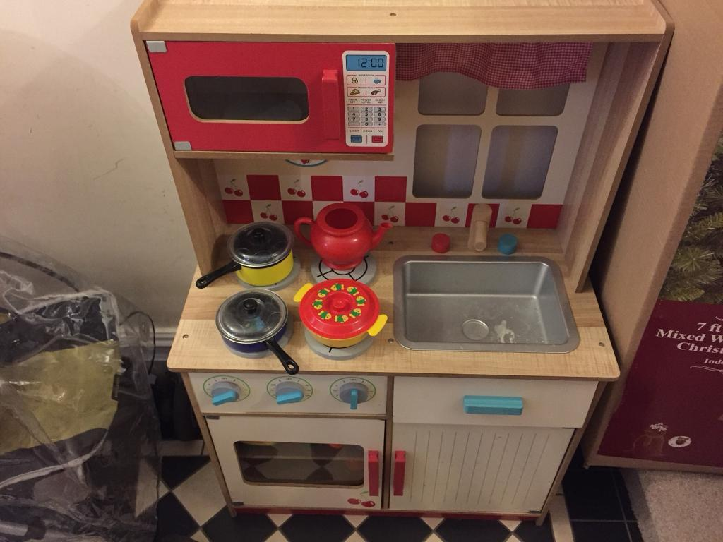 Wooden Play Kitchen With Toy Food Pots Pans Plates Utensils Etc In