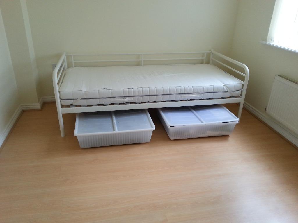 ikea sv rta day bed frame slatted base white foam mattress 2 storage boxes in warwick. Black Bedroom Furniture Sets. Home Design Ideas