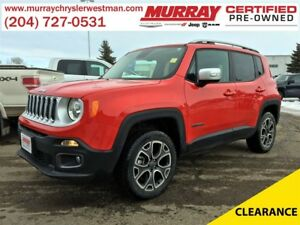 2016 Jeep Renegade Limited 4WD *My Sky Open Roof* *Nav* *Backup