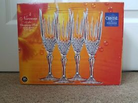 """4 x Nirvana """"Cristal de France"""" 14cl Champagne Flutes - Quality French Lead Crystal"""