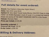 Foo fighter concert, Olympic stadium, June 23 2018, block 234/235 first 10 row seats