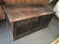 Outstanding Huge Superior Antique Ornate Hand Carved Solid Oak Storage Chest Trunk Blanket Box Seat