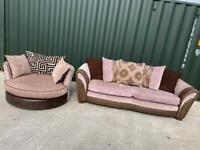 DFS large 3 seater sofa + swivel / cuddle chair Set £320 (Can Arrange Delivery)