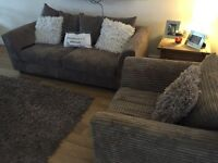 3 seater and a cuddle chair brown
