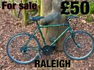 Raleigh Outland gents mountain bike 18 gears 20 inch frame 26 inch wheels v brakes