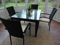 RATTAN DINING ROOM TABLE & CHAIRS