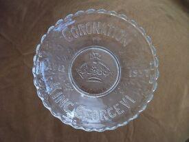 King George VI Glass Coronation Dish, 1937. Good Condition