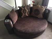 "DFS Large four seater sofa & matching ""cuddler"" with Bluetooth fitted speakers"