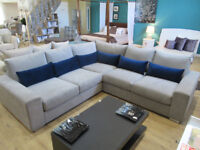 Brand New Ex Display Scandinavian Grey Corner sofa with accent/lumbar cushions in a velvet touch