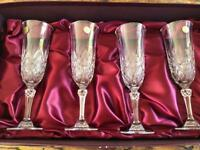 4 Crystal Champagne Glasses