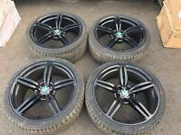 """EXCELLENT CONTION 20"""" BMW BLACK M5 M6 ALLOYS- WITH 2 BRAND NEW TYRES AND 2 7mm tyres."""