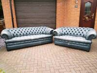 Chesterfield genuine leather 3+2. £250 THE PAIR!BARGAIN!