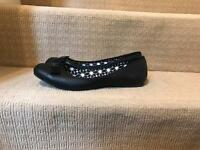 Ladies smart black flats size 8