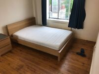 Ikea double bed with mattress & drawers