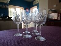 CRYSTAL WINE GLASSES. SET OF 6. EX CONDITION. STUNNING