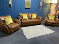 Stunning Natuzzi orange tan leather suite 3 seater sofa and 2 armchairs