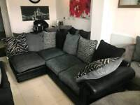 Ex Display Blacm Leather and Grey Fabric Corner Sofa