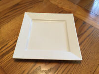 SET OF 6 EXTRA LARGE SQUARE WHITE DINNER PLATES