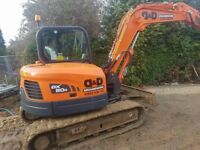 8 ton digger and driver , operated or self drive hire