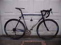 Road bike. Lemond Toumalet. Reynolds 853 steel frame. Carbon fork. Shimano 105. Lightweight wheels.