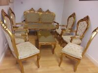 beautiful levengroom set .4 armchairs 2 chairs &large 2 setter with coffee table.