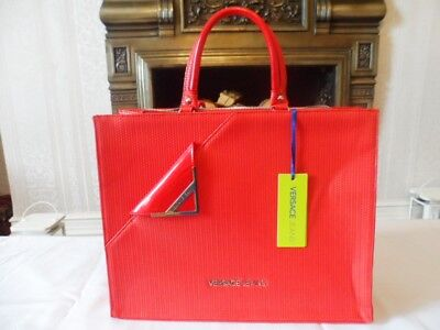 Versace Jeans Large Red Ecopelle Handbag , Style Donna Art