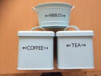 Pale blue tea, coffee and nibbles tin