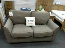 Sofa bed upholstered in taupe fabric - British Heart Foundation sco39426