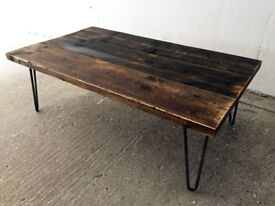Industrial Reclaimed Timber Scaffold Board Coffee Table. On Vintage, Retro Hairpin Legs