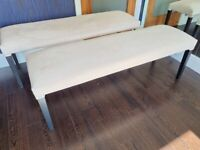 Set of cream dining benches