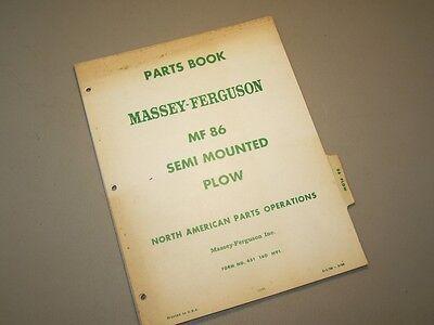 No. 86 Semi Mounted Plow 4 Massey Ferguson Mf Tractor Parts Book Manual Catalog