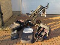 Jane Crosswalk travel system (car seat, pram & buggy all easy clip fit to frame) excellent condition