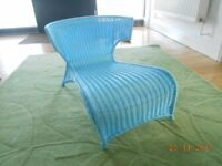 "Childs chair blue plastic wicker,30""lx20""h/ 75x50cm Chaise longue Immaculate indoor or outdoor £20"