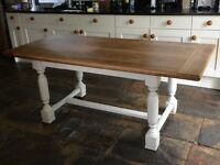 Shabby Chic Oak painted kitchen/dining table-beautiful condition