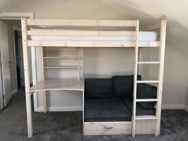 Bunk bed single with mattress and desk off white ivory wood with grey sofa and mattress
