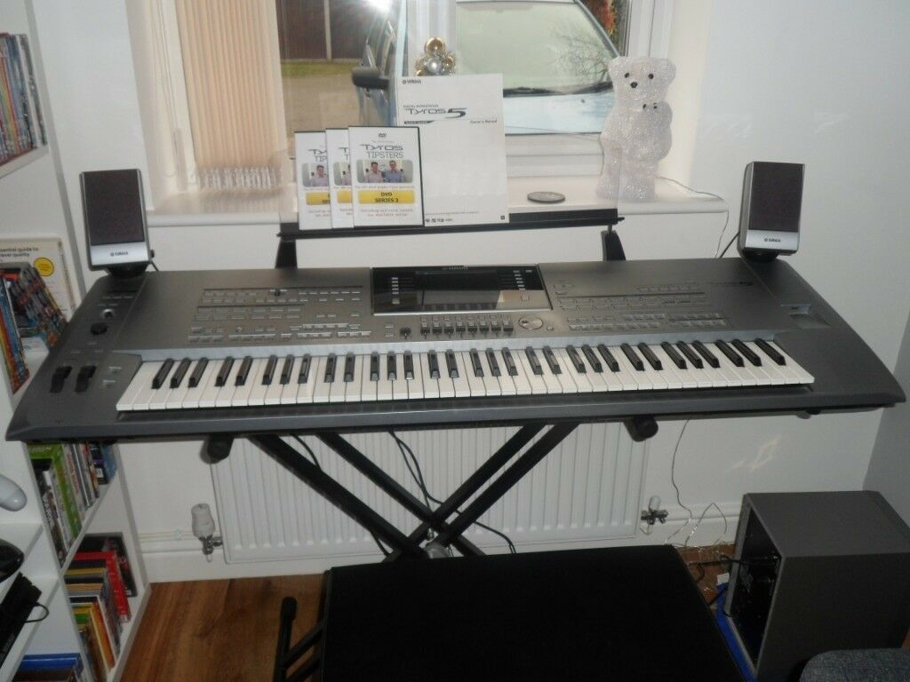 MINT YAMAHA TYROS 5 WITH 76 NOTES AND MS5 SPEAKER SYSTEM, EXPANSION PACK,  STAND, STOOL, ACCESSORIES | in Derby, Derbyshire | Gumtree