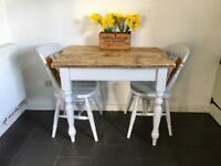 Handpainted old pine farmhouse table and two chairs