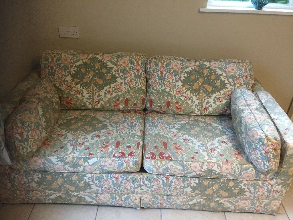 Comfortable Sofa Bed With Liberty Print Fabric And Feather Cushions