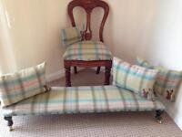 🌺 ANTIQUE VICTORIAN/ VINTAGE LONG STOOL/FOOTSTOOL & CHAIR & CUSHIONS 🌺