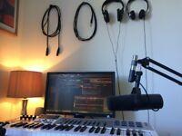 Small amateur studio set up for beginner singer/songwriter/musicians £10/hr
