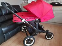 Bugaboo donkey twin pram with black frame and red fabric sets