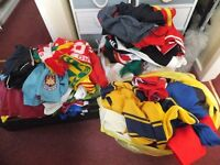 job lot of 72 football shirts, plus some shorts tracksuit tops, scarves
