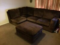 Brown corner sofa and puffet SALE OR SWAP