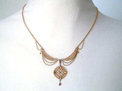 """Antike """"Union"""" Kette/Collier vergoldet 8 x Saatperle,5 x Rosa Steine 6,2 g"""