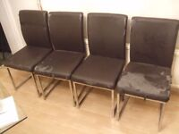 FREE: 4 Chrome Dining Chairs For Restoration (East Ham E6)