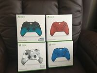 XBOX ONE CONTROLLERS (2017) WINTER CAMOUFLAGE , VIVID BLUE & OCEAN SHADOW all One Price £35 Each!
