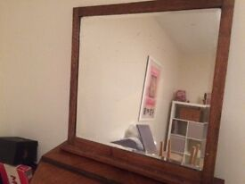 Large wooden mirror for wall or dresser